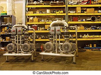 armazém, equipamento, industrial