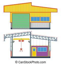 armazém, fábrica, transporte, predios, ilustração