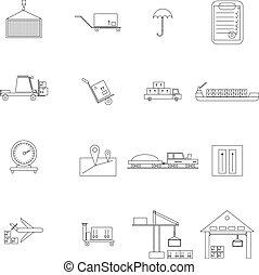 armazém, gerência, ícones, jogo