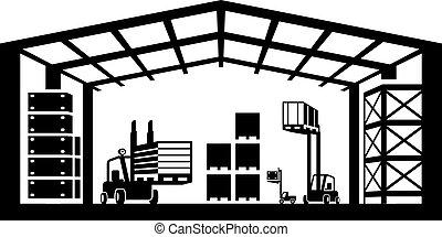 armazém, industrial, cena
