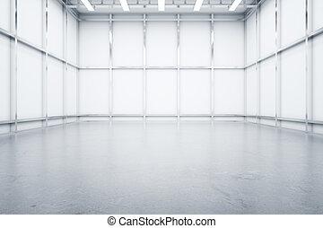 armazém, interior, vista dianteira