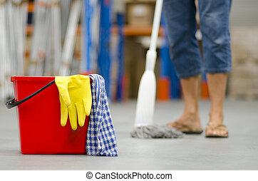 armazém, limpeza, negócio