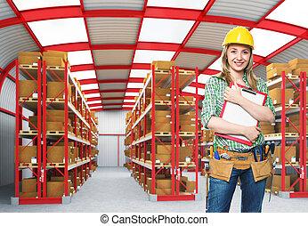 armazém, trabalhador