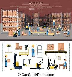 armazém, trabalhador, levando, pacote, em, prateleira,...