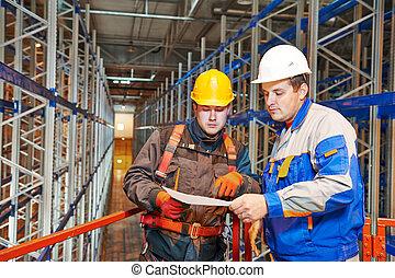 armazém, trabalhador, storehouse