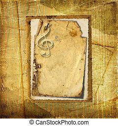 armazón, para, invitations., grunge, fondo., un, música, book.