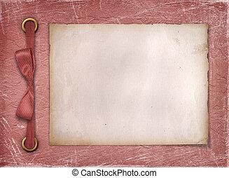 armazón, para, un, foto, o, invitations., un, rojo, bow., un, grunge, fondo.