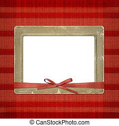 armazón, para, un, foto, o, invitations., un, rojo, bow., un, hermoso, fondo.