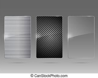 armazón, set., metal, vector., vidrio