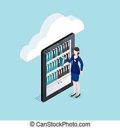 armazenamento, isometric, documentos, desenho, nuvem