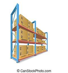 armazenamento, prateleiras, com, boxes.