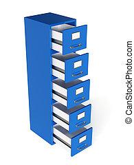 armazenamento, render, gaveta, arquivo, isolado, conc, experiência., branca