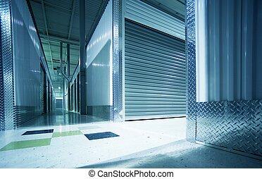 armazenamento, unidades, corredor