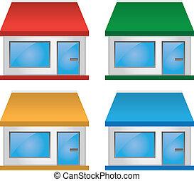 armazenar parte dianteira, com, toldo, cores