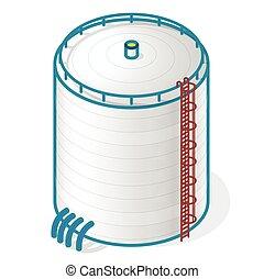 armazenar, tanque, gás, oxigênio, óleo, sólido, água, fuels.