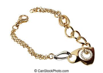armband, goud