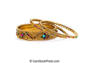 armband, tre, gyllene