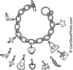 armband, zilver, charmes