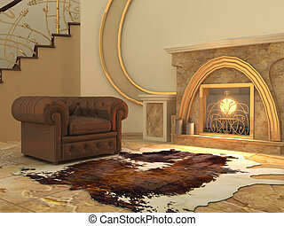Armchair and fell by fireplace in modern interior