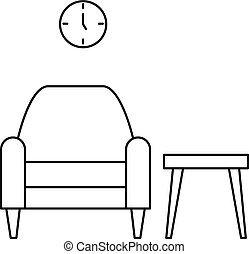 Armchair and table icon, outline style