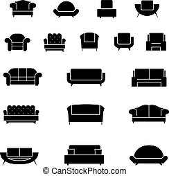 Armchair, chairs, sofa and couch vector icons set
