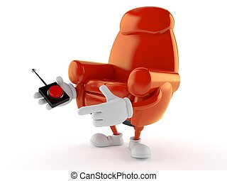 Armchair character pushing button on white background