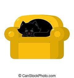armchair., coccolare, gatto giallo, nero, casa, sedia