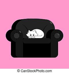 armchair., coccolare, gatto, nero, casa, bianco, sedia