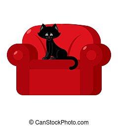 armchair., coccolare, gatto, nero, casa, sedia, rosso