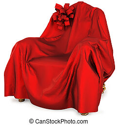 armchair covered with red satin cloth with bow. isolated on...