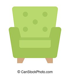 Armchair flat icon, Furniture and interior element, vector...
