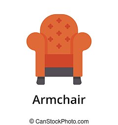 Armchair flat vector illustration. Single object. Icon for ...