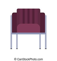 Armchair front view furniture vector icon illustration isolated. Modern interior comfortable home seat relax flat element