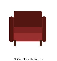 Armchair front view vector illustration interior furniture. Isolated rliving room cartoon icon. Flat indoor simple sit