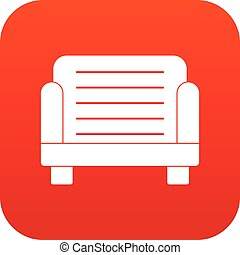 Armchair icon digital red
