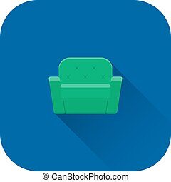 Armchair icon. Flat design with long shadow. Vector.