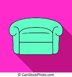 Armchair icon in flat style isolated on white background. Furniture and home interior symbol stock vector illustration.