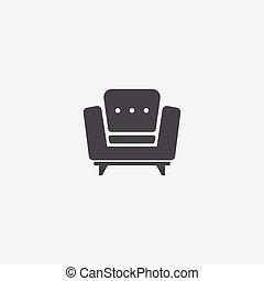 armchair icon, on white background.