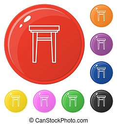 Armchair icon set 8 color isolated on white. Collection of glossy round colorful buttons with armchair. Vector illustration for design, game, web.