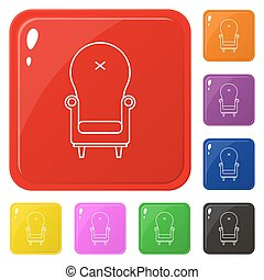 Armchair icon set 8 color isolated on white. Collection of glossy square colorful buttons with armchair. Vector illustration for design, game, web.