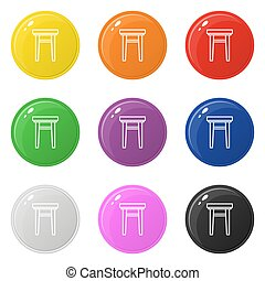 Armchair icon set 9 color isolated on white. Collection of glossy round colorful buttons with armchair. Vector illustration for design, game, web.