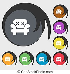 Armchair icon sign. Symbols on eight colored buttons. Vector