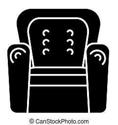 armchair icon, vector illustration, black sign on isolated background