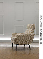 Armchair in a living room with grey wall