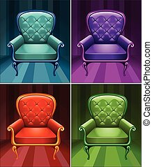 Armchair in four colors