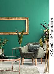 Armchair in green leaving room