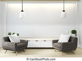 armchair in japanese living room with empty wall. 3D rendering