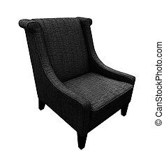 Armchair isolated on white background. Black color