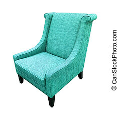 Armchair isolated on white background. Blue color
