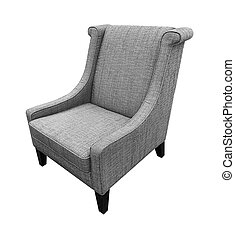 Armchair isolated on white background. Gray color
